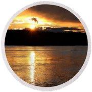 Round Beach Towel featuring the photograph Nebraska Sunset by Elizabeth Winter