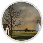 Ned's Point Light Round Beach Towel