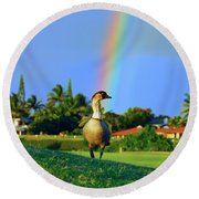 Nene At The End Of The Rainbow Round Beach Towel by Lynn Bauer