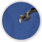 Round Beach Towel featuring the photograph Nest Builder by Anne Rodkin
