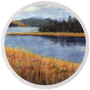 Nestucca River And Bay  Round Beach Towel