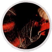 Round Beach Towel featuring the photograph Netted A Red by Clayton Bruster