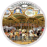 Round Beach Towel featuring the photograph New York Carousel by Alice Gipson