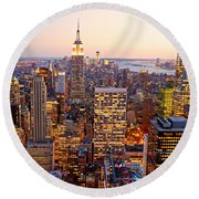 Round Beach Towel featuring the photograph New York City by Luciano Mortula