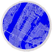New York City Map Streets Art Print   Round Beach Towel by Keith Webber Jr