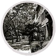 Round Beach Towel featuring the photograph New York Sidewalk by Eric Tressler