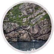 Round Beach Towel featuring the photograph Newfoundland Fishing Boat by Verena Matthew