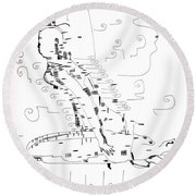 Round Beach Towel featuring the drawing Ngwale Dance - Botswana by Gloria Ssali