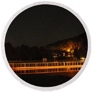 Round Beach Towel featuring the photograph Night Bridge by Kay Lovingood