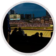 Night Game At Wrigley Field Round Beach Towel