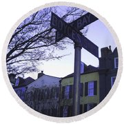 Round Beach Towel featuring the photograph Night In Savannah by Andrea Anderegg