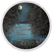 Round Beach Towel featuring the painting Night In The Bayou by Alys Caviness-Gober