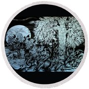 Round Beach Towel featuring the drawing Nightingale Night by Anna  Duyunova