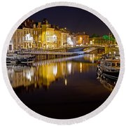 Nighttime Along The River Leie Round Beach Towel