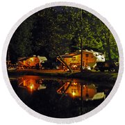 Nighttime In The Campground Round Beach Towel