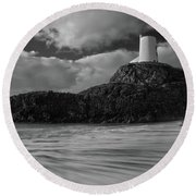 Niwbwrch Lighthouse Round Beach Towel