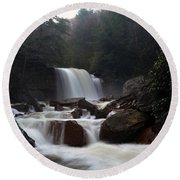 Round Beach Towel featuring the photograph North Forks Waterfalls by Dan Friend