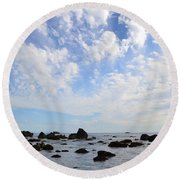 Northern California Coast1 Round Beach Towel by Zawhaus Photography