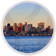 Northwest Jewel - Seattle Skyline Cityscape Round Beach Towel by James Heckt