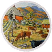 Nostalgia Cows Painting By Prankearts Round Beach Towel