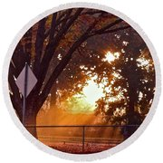 November Sunrise Round Beach Towel by Bill Owen