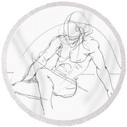 Nude-male-drawings-13 Round Beach Towel