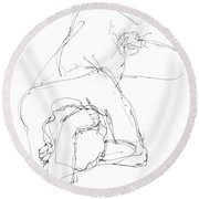 Nude Male Drawings 7 Round Beach Towel
