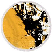 Number 1 Bettis Fan - Black And Gold Round Beach Towel