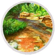 Oak Creek Red Round Beach Towel by Eric Samuelson