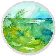 Ocean And Shore Round Beach Towel