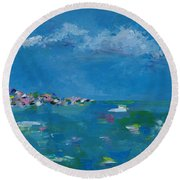 Round Beach Towel featuring the painting Ocean Delight by Judith Rhue