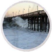 Ocean Wave Storm Pier Round Beach Towel