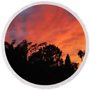 October Sunset 10 Round Beach Towel