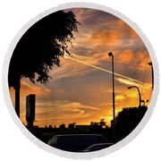 October Sunset 6 Round Beach Towel
