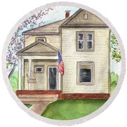 Round Beach Towel featuring the painting Ohio Cottage With Flag by Clara Sue Beym