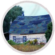 Round Beach Towel featuring the photograph Old Barn by Davandra Cribbie