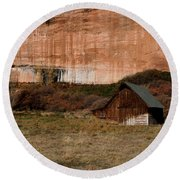 Round Beach Towel featuring the photograph Old Barn In Angel Canyon #1  by Nola Lee Kelsey