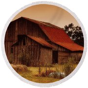 Round Beach Towel featuring the photograph Old Barn by Lydia Holly