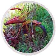 Old Bike And Weeds Round Beach Towel