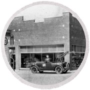 Old Car Gas Station Round Beach Towel