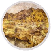 Old City Of Muscat Round Beach Towel