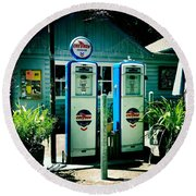 Old Fashioned Gas Station Round Beach Towel by Nina Prommer