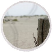 Old Fence Pole Round Beach Towel