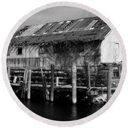 Round Beach Towel featuring the photograph Old Fishing Wharf by Karen Harrison