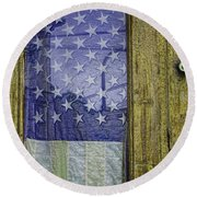 Old Glory And Door Round Beach Towel