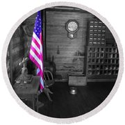 Round Beach Towel featuring the photograph Old Glory by Deniece Platt