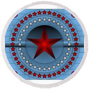 Round Beach Towel featuring the digital art Old Glory Star by Mario Carini