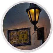 Old Lamp On A Colonial Building In Old Cartagena Colombia Round Beach Towel