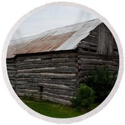Round Beach Towel featuring the photograph Old Log Building by Barbara McMahon