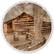 Old Mill Work Cabin Round Beach Towel by Dan Stone